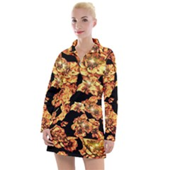 Copper Floral Women s Long Sleeve Casual Dress