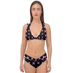 Flowers From The Summer Still In Bloom Double Strap Halter Bikini Set