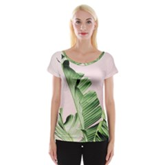 Palm Leaf Cap Sleeve Top by goljakoff