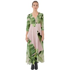 Palm Leaf Button Up Boho Maxi Dress by goljakoff