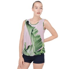 Palm Leaf Bubble Hem Chiffon Tank Top by goljakoff