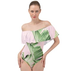 Palm Leaf Off Shoulder Velour Bodysuit  by goljakoff