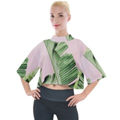 Palm Leaf Mock Neck Tee by goljakoff