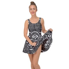 Skull And Spider Web On Dark Background Inside Out Casual Dress