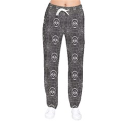 Skull And Spider Web On Dark Background Women Velvet Drawstring Pants