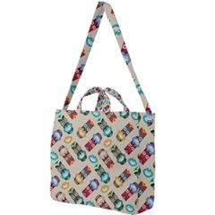 Ethnic Tribal Masks Square Shoulder Tote Bag by tmsartbazaar
