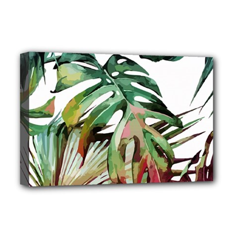 Watercolor Monstera Leaves Deluxe Canvas 18  X 12  (stretched) by goljakoff