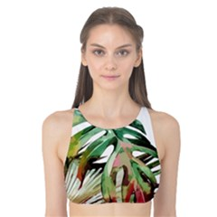 Watercolor Monstera Leaves Tank Bikini Top by goljakoff