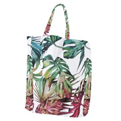 Watercolor Monstera Leaves Giant Grocery Tote by goljakoff