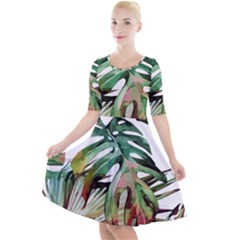 Watercolor Monstera Leaves Quarter Sleeve A-line Dress by goljakoff