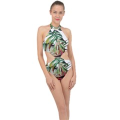 Watercolor Monstera Leaves Halter Side Cut Swimsuit by goljakoff