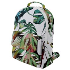 Watercolor Monstera Leaves Flap Pocket Backpack (small)