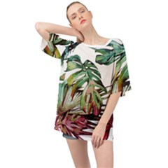 Watercolor Monstera Leaves Oversized Chiffon Top by goljakoff