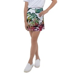 Watercolor Monstera Leaves Kids  Tennis Skirt by goljakoff