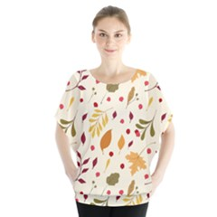 Pretty Leaves Pattern Batwing Chiffon Blouse