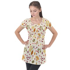 Pretty Leaves Pattern Puff Sleeve Tunic Top
