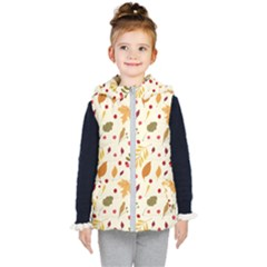 Pretty Leaves Pattern Kids  Hooded Puffer Vest