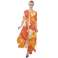 Autumn Leaves Pattern Waist Tie Boho Maxi Dress