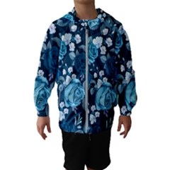 Blue Floral Print  Kids  Hooded Windbreaker