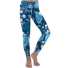 Blue Floral Print  Kids  Lightweight Velour Classic Yoga Leggings
