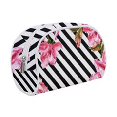 Pink Floral Stripes Makeup Case (small) by designsbymallika