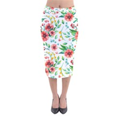 Beautiful Orange Flowers Velvet Midi Pencil Skirt