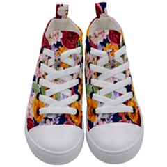 Watercolor Print Floral Design Kids  Mid-top Canvas Sneakers