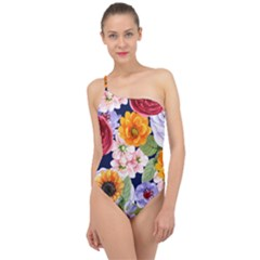 Watercolor Print Floral Design Classic One Shoulder Swimsuit by designsbymallika