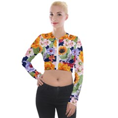 Watercolor Print Floral Design Long Sleeve Cropped Velvet Jacket by designsbymallika