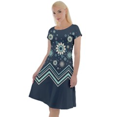 Floral-geometric  Ornament Classic Short Sleeve Dress