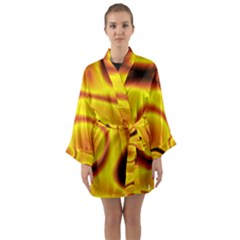Golden Honey Long Sleeve Satin Kimono