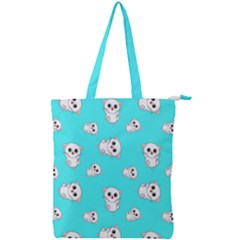 Azure Blue And Crazy Kitties Pattern, Cute Kittens, Cartoon Cats Theme Double Zip Up Tote Bag