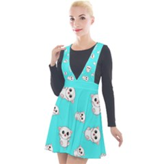 Azure Blue And Crazy Kitties Pattern, Cute Kittens, Cartoon Cats Theme Plunge Pinafore Velour Dress