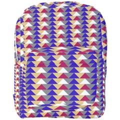 Colorful Triangles Pattern, Retro Style Theme, Geometrical Tiles, Blocks Full Print Backpack by Casemiro