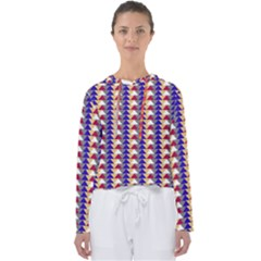 Colorful Triangles Pattern, Retro Style Theme, Geometrical Tiles, Blocks Women s Slouchy Sweat