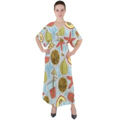 Tropical Pattern V-neck Boho Style Maxi Dress by GretaBerlin