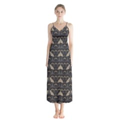 Moth Pattern Button Up Chiffon Maxi Dress