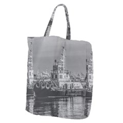 Tugboat At Port, Montevideo, Uruguay Giant Grocery Tote by dflcprintsclothing