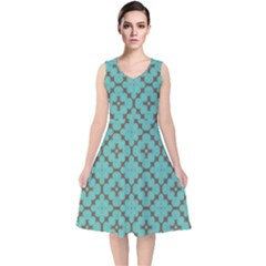 Tiles V-neck Midi Sleeveless Dress  by Sobalvarro