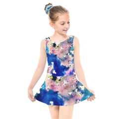 Complementary Contrast Kids  Skater Dress Swimsuit