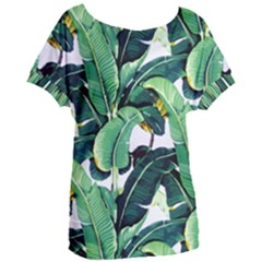 Tropical Banana Leaves Women s Oversized Tee by goljakoff