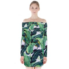 Tropical Banana Leaves Long Sleeve Off Shoulder Dress by goljakoff