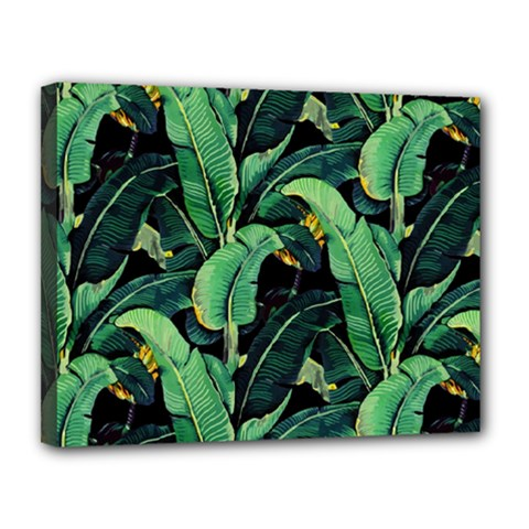 Night Tropical Banana Leaves Canvas 14  X 11  (stretched) by goljakoff
