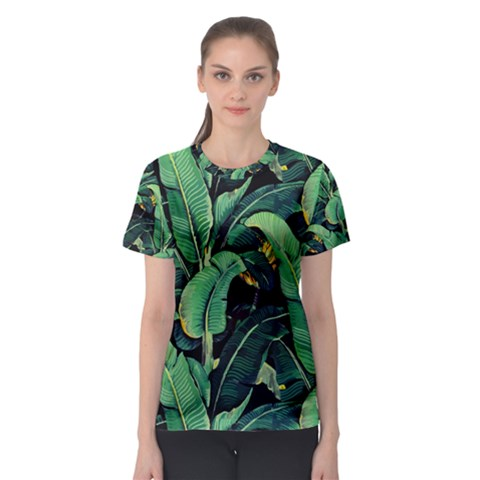 Night Tropical Banana Leaves Women s Sport Mesh Tee by goljakoff