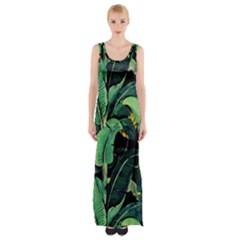 Night Tropical Banana Leaves Thigh Split Maxi Dress by goljakoff