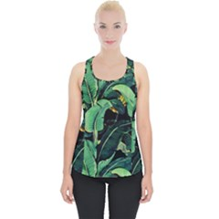 Night Tropical Banana Leaves Piece Up Tank Top