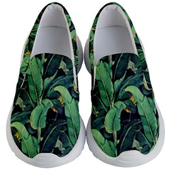 Night Tropical Banana Leaves Kids Lightweight Slip Ons by goljakoff