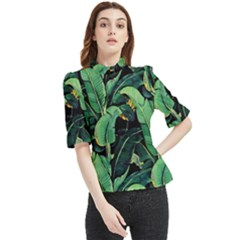 Night Tropical Banana Leaves Frill Neck Blouse