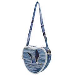Seagull Flying Over Sea, Montevideo, Uruguay Heart Shoulder Bag by dflcprintsclothing