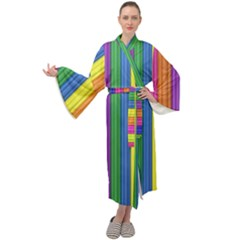 Colorful Spongestrips Maxi Velour Kimono by Sparkle